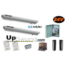 Upswung SW Package FA/S418  24DC/115V Column Mount Dual/Bi-parting Swing Gate Operator. Kit Includes battery backup,1 radio receiver and 2 transmitters, safety photo eyes, free exit loop, keypad entry..